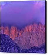 Panorama Alpenglow On Mount Whitney Eastern Sierras California Canvas Print