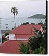 Panorama Of Charlotte Amalie Bay Canvas Print by Russell Windle
