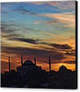 Panorama Of Istanbul Sunset- Call To Prayer Canvas Print by David Smith