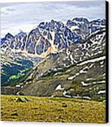 Panorama Of Rocky Mountains In Jasper National Park Canvas Print