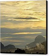Panorama Sunset Aparaman And Towyen Tepuis Kavak Venezuela Canvas Print