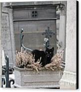 Paris Cemetery Cat - Le Chats Noir - Pere Lachaise - Black Cat On Grave Cemetery Art Canvas Print by Kathy Fornal