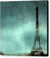 Paris Dreamy Eiffel Tower Teal Aqua Abstract Art Photo - Paris Eiffel Tower Painted Photograph Canvas Print by Kathy Fornal