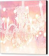 Paris Dreamy Ethereal Chandelier Art - Dreamy Pink Bokeh Sparkling Paris Chandelier Art Deco Canvas Print by Kathy Fornal