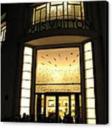 Paris Louis Vuitton Boutique Store Front - Paris Night Photo Louis Vuitton - Champs Elysees  Canvas Print
