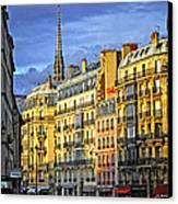 Paris Street At Sunset Canvas Print by Elena Elisseeva