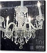 Paris Surreal Silver Crystal Chandelier - Paris Cafe Chandelier Art  Canvas Print by Kathy Fornal