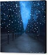 Paris Tuileries Trees - Blue Surreal Fantasy Sparkling Trees - Paris Tuileries Park Canvas Print by Kathy Fornal