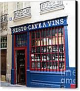 Paris Wine Shop Resto Cave A Vins - Paris Street Architecture Photography Canvas Print