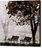 Park Benches Square Canvas Print by Carol Leigh