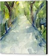 Path Conservatory Garden Central Park Watercolor Painting Canvas Print
