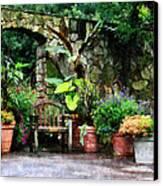 Patio Garden In The Rain Canvas Print by Susan Savad