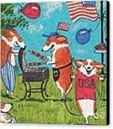 Patriotic Pups Canvas Print by Margaryta Yermolayeva