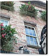 Paula Deen Savannah Restaurant Flower Boxes Canvas Print by Kathy Fornal