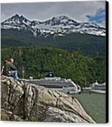 Pause In Wonder At Cruise Ships In Alaska Canvas Print