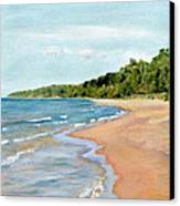Peaceful Beach At Pier Cove Canvas Print by Michelle Calkins