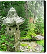 Peaceful Japanese Garden On Mount Desert Island Canvas Print by Edward Fielding
