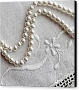 Pearls And Old Linen Canvas Print by Barbara Griffin