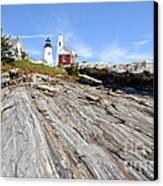 Pemaquid Point Lighthouse In Maine Canvas Print by Olivier Le Queinec