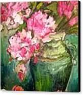 Peonies And Peaches Canvas Print by Carol Mangano