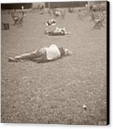 People Sleeping In The Park Canvas Print by Beverly Brown
