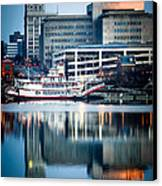 Peoria Illinois Cityscape And Riverboat Canvas Print by Paul Velgos