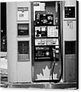 petro canada winter gas fuel pump at service station Regina Saskatchewan Canada Canvas Print