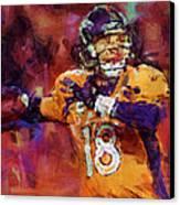 Peyton Manning Abstract 2 Canvas Print by David G Paul