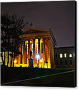 Philadelphia Art Museum  At Night From The Rear Canvas Print by Bill Cannon