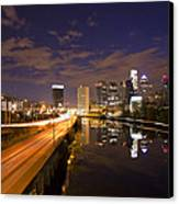 Philadelphia Cityscape From South Street At Night Canvas Print