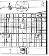 Philadelphia: Map, 1683 Canvas Print by Granger
