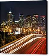 Philadelphia Skyline At Night In Color Car Light Trails Canvas Print