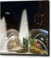Philadelphia - Swann Fountain - Night Canvas Print by Bill Cannon