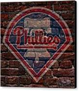 Phillies Baseball Graffiti On Brick  Canvas Print by Movie Poster Prints