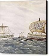 Phoenician And Assyrian Battle Ships Canvas Print by Everett