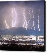Phoenix Arizona City Lightning And Lights Canvas Print by James BO  Insogna