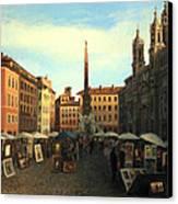 Piazza Navona In Rome Canvas Print by Kiril Stanchev