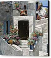 piccole case bianche di Grecia Canvas Print by Guido Borelli