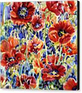 Picket Fence Poppies Canvas Print by Ann  Nicholson
