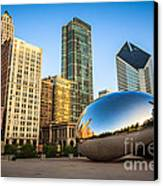 Picture Of Cloud Gate Bean And Chicago Skyline Canvas Print by Paul Velgos