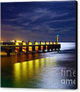 Pier At Night Canvas Print by Carlos Caetano