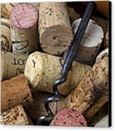 Pile Of Wine Corks With Corkscrew Canvas Print