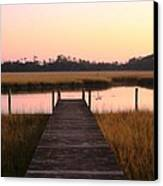 Pink And Orange Morning On The Marsh Canvas Print