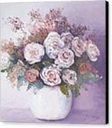 Pink And White Roses Canvas Print by Jan Matson
