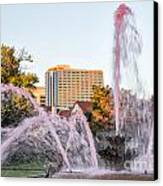 Pink Fountain For Breast Cancer Canvas Print by Terri Morris