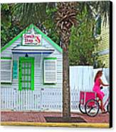 Pink Lady And The Conch Shop  Canvas Print by Rebecca Korpita