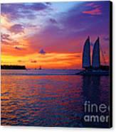 Pink Sunset In Key West Florida Canvas Print by Susanne Van Hulst