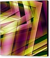 Pink Yellow And Green Geometry Canvas Print by Mario Perez