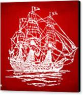 Pirate Ship Artwork - Red Canvas Print