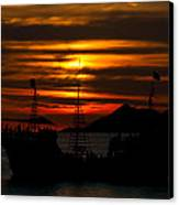 Pirate Ship At Sunset Canvas Print by Robert Bascelli